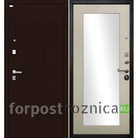Входная дверь  с зеркалом Ратибор Люкс Антик медь / Экодуб