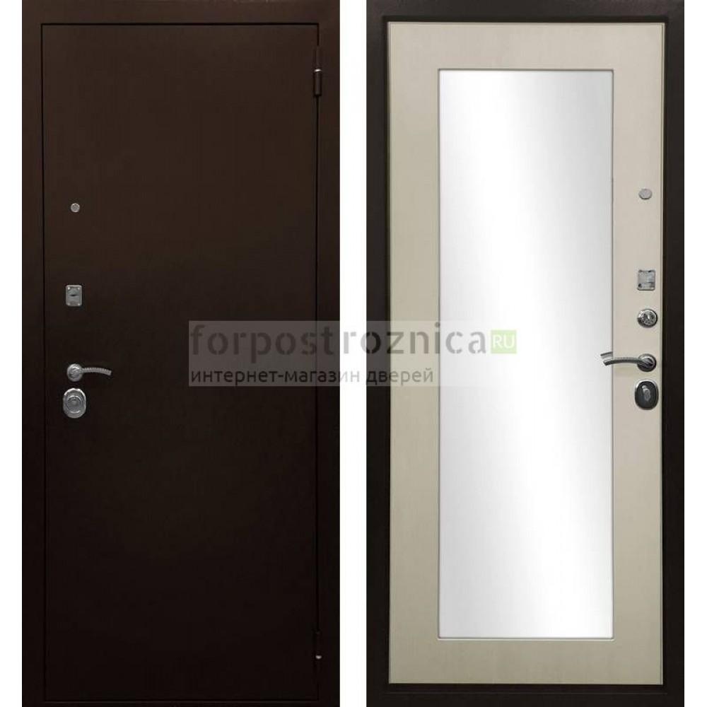 Входная дверь Ратибор Оптима 3К Зеркало Лиственница беж (трехконтурные)