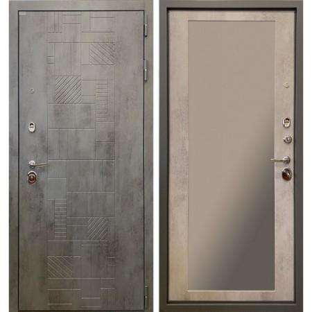 Входная дверь Ратибор Тетрис 3К с зеркалом (Бетон светлый)
