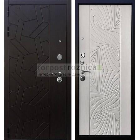 Входная дверь Ратибор Витраж 3К Лиственница (трехконтурные)