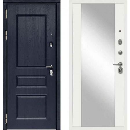Входная дверь Сударь МД-45 Роял Вуд синий - M15 Белый софт с зеркалом
