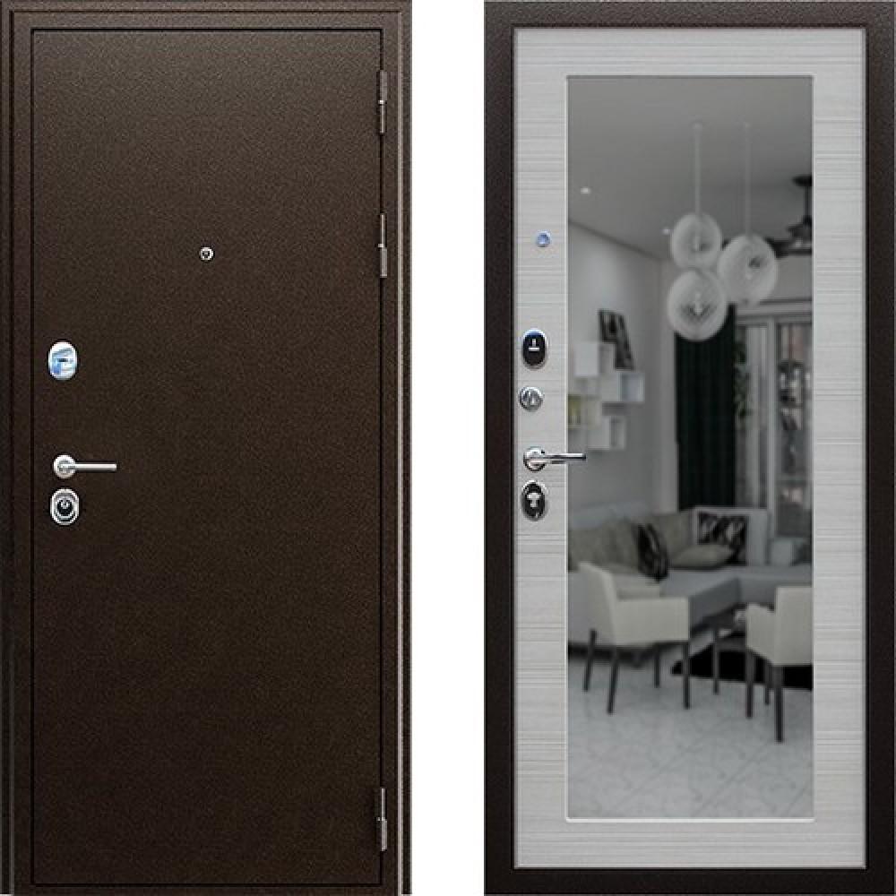 Входная дверь АСД Спартак с зеркалом в цвете акация светлая (Антивандальные)