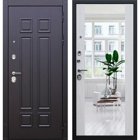 Металлическая дверь АСД Виват с зеркалом сосна белая (с шумоизоляцией)