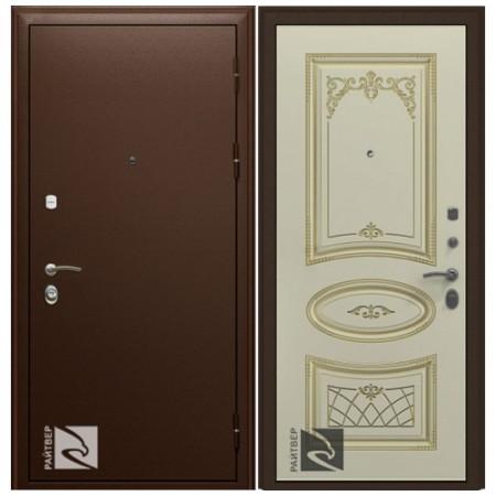 Входная дверь Кондор Премьер с Накладкой Ария Слоновая кость патина золото