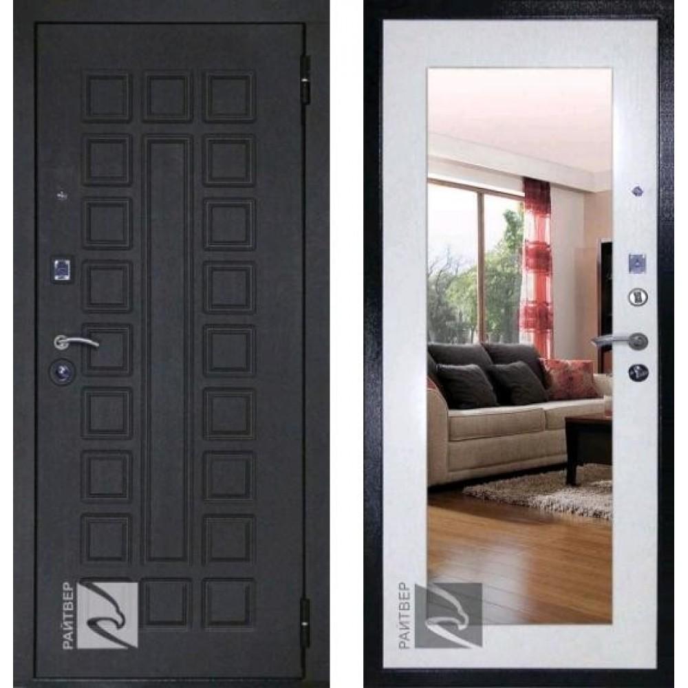Входная дверь Кондор Сенат Лайф с зеркалом беленый дуб