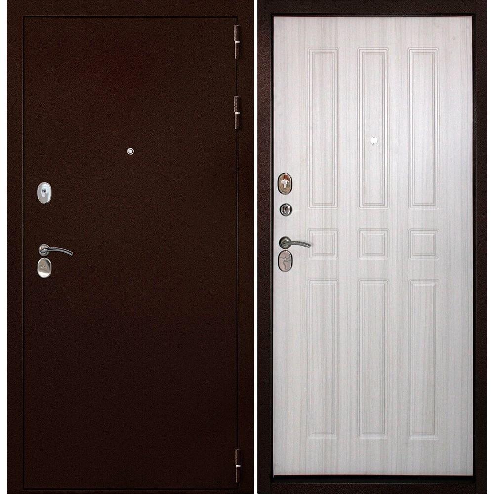 Железная дверь Континент-100 Беленый дуб (утепленные)