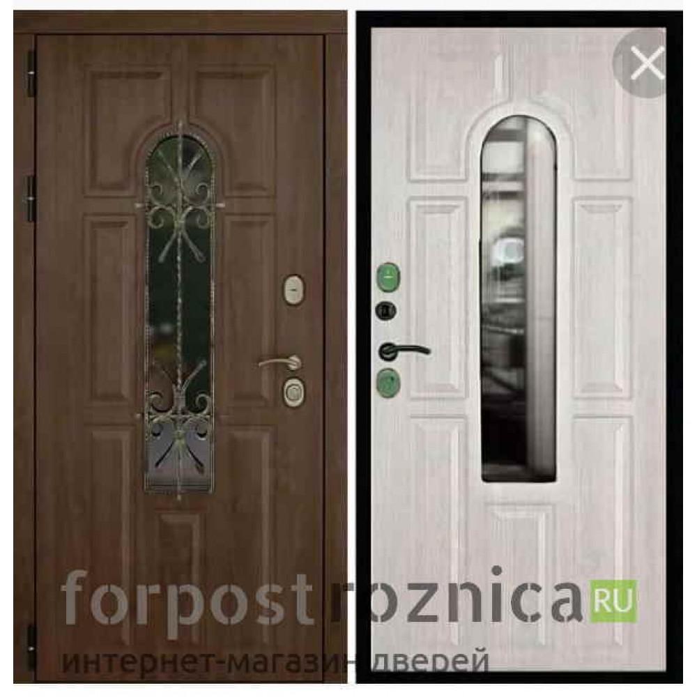 Входная дверь Континент Лион 3К с окном и ковкой (Орех тёмный / Альберо браш)