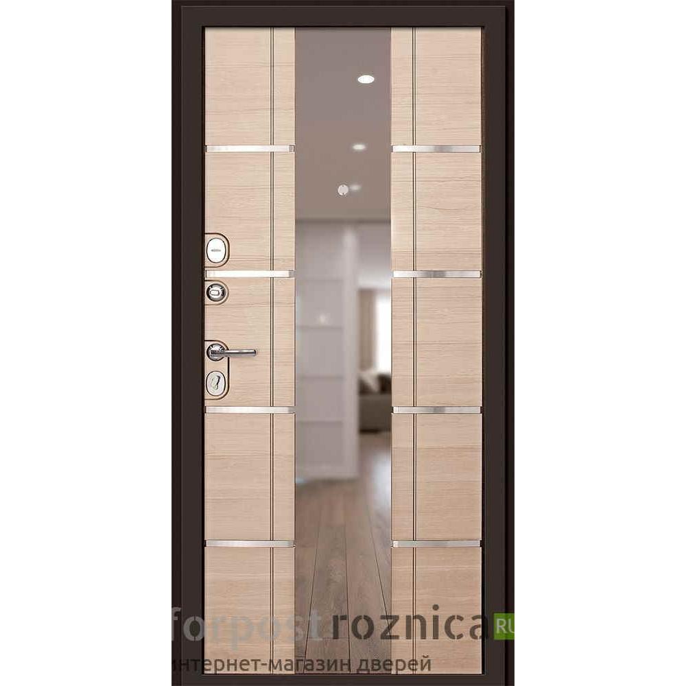 Входная дверь Континент Савона с зеркалом Капучино (трехконтурные)