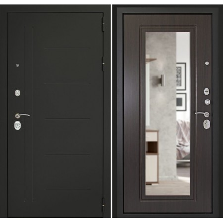 Входная дверь с зеркалом Континент СИТИ-Z3К Венге (утепленные)