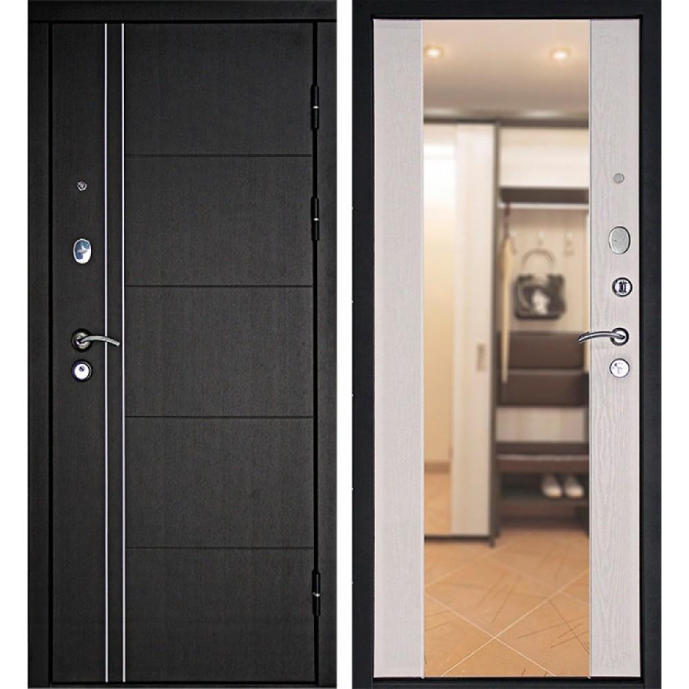 Металлическая дверь  Континент Тепло-Люкс 3К Зеркало (Венге / Дуб беленый)
