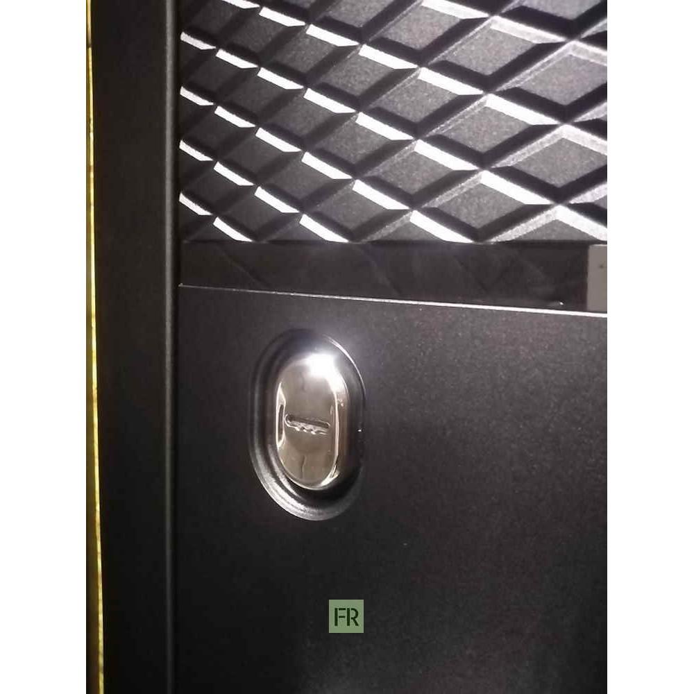 Заводские двери Тефлон 3К черный кварц / зеркало Макси беленый дуб