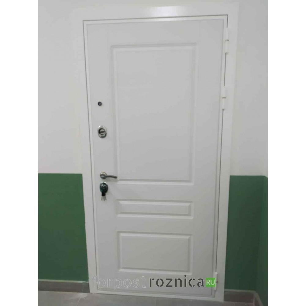 Входная дверь REX Премиум H белая сб-16 Ясень белый (с зеркалом)